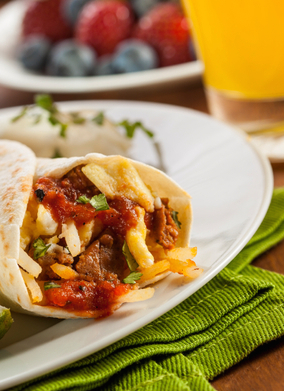 Hearty Chorizo Breakfast Burrito with Eggs, Cheese, and Hashbrowns