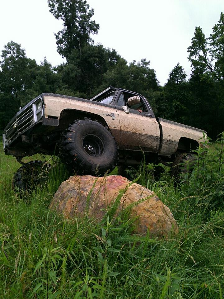 86 Chevy, 6in lift, 40 tsl super swampers. Doing work