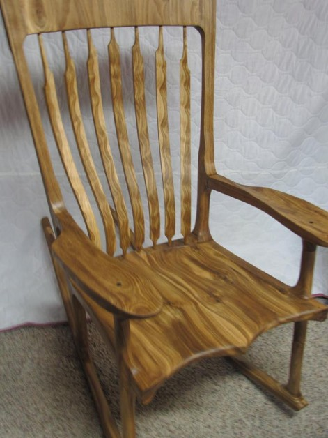 Rocking chair made from rustic white oak.