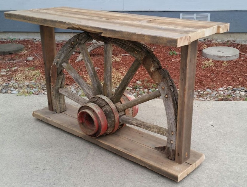 Reclaimed barn wood and wagon wheel sofa table / TV stand