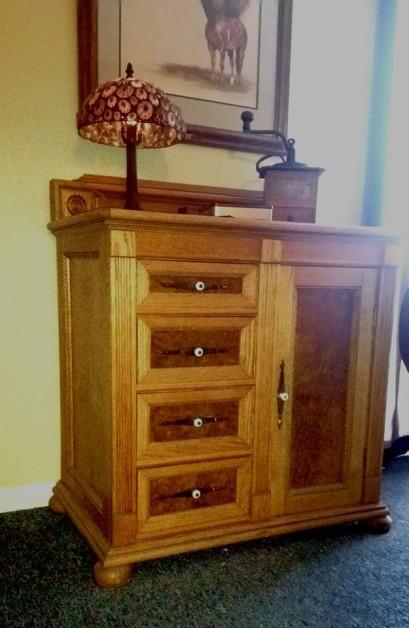 A 'Comode' I built for a bathroom. Red oak, oak burl veneer, cedar lined.  Dr Dan Fink, ret