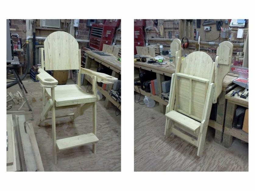A folding deck chair.