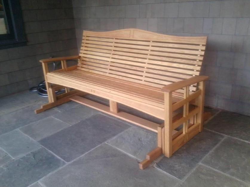 From Brink's Woodshop. Glider bench in white oak.