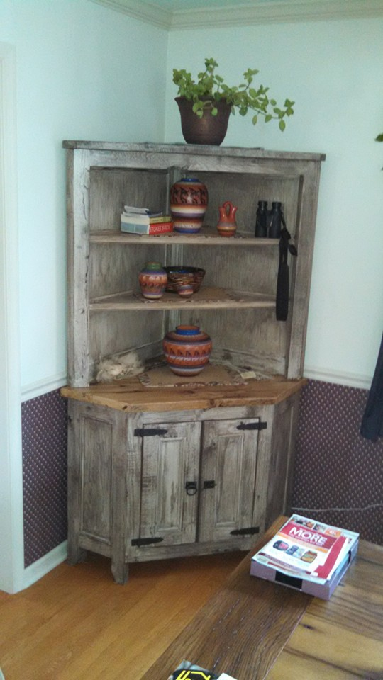 Here is final piece of kitchen set made of old barn wood a corner hutch