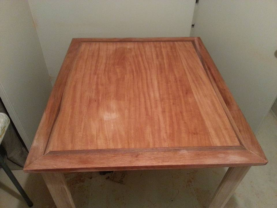 Dining table, African Mahogany, walnut inset, hickory legs