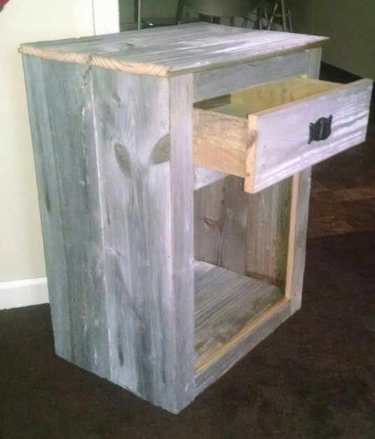 Made this out of old barn siding. Great little nightstand