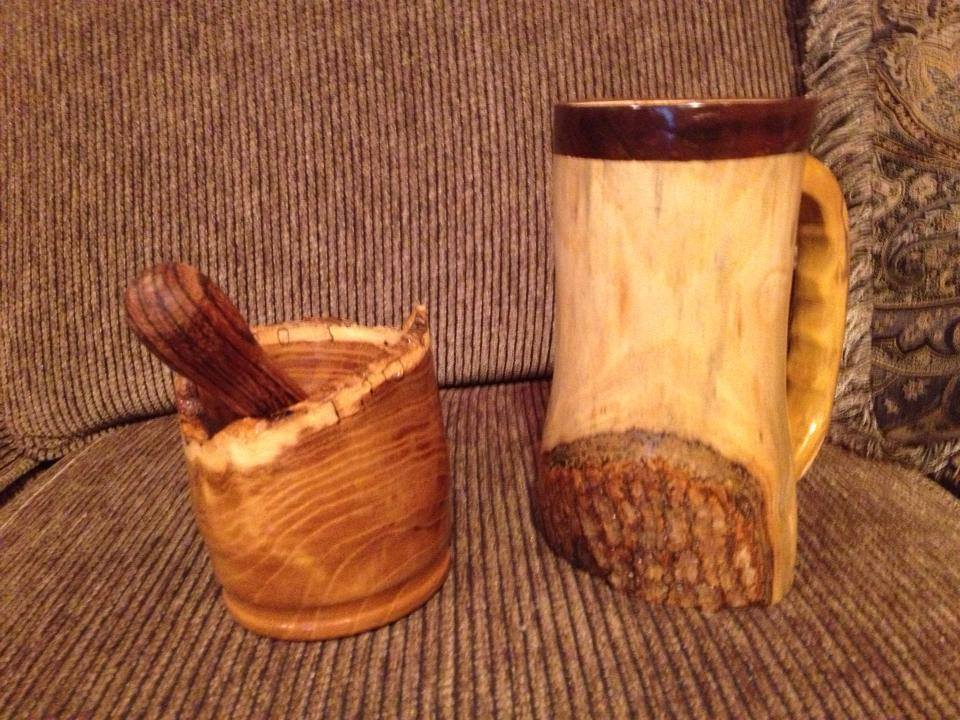 My fellow woodworker and friend Lenard made this for me out of Mulberry wood I picked up on the side of the road. I find a lot of good wood that way and I love rustic.