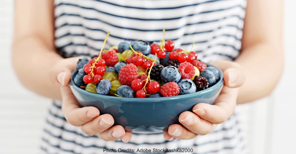 bowl of juicy ripe summer berries