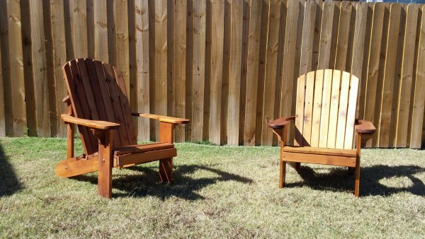 Here are two Adirondack chairs out of wester red cedar I just finished.