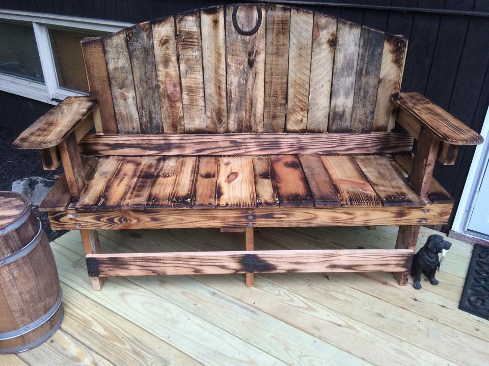 Made this bench for my wife out of recycled pallets. Torched for effect and sealed with tung oil.