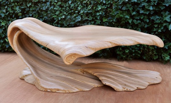 Baltic Birch Plywood, stack laminated and carved. H_18-25in W_36in L_57in