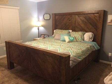 King size bed I built out of barnwood.