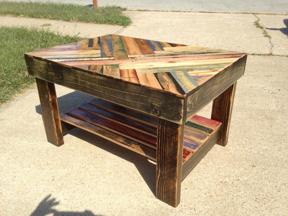 Coffee table topped with heat treated pallet wood that I stained myself.