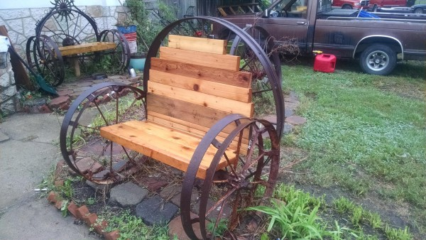 Old cedar 2x4's and some old wagon wheels...