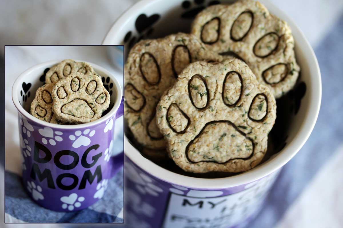 Do-it-yourself Dog Mints in a Rescue Dog Mug, Multiple Views