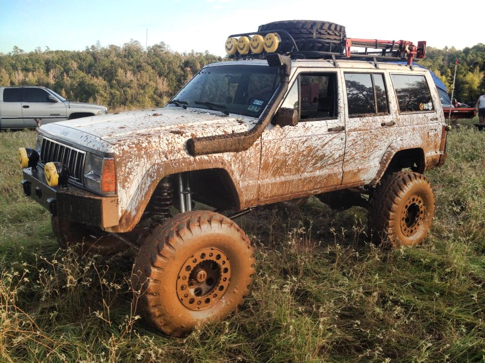 From Brent England‎: 89 XJ,12 inch lift and 36 military oz tires, full width axles w/ 4.56 gears.