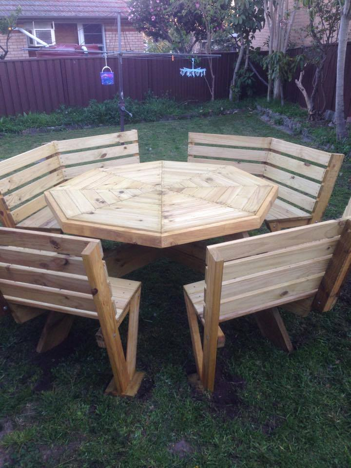 From David Kells: 8 seater garden Pine bench this is my first attempt at furniture making, having previously only done basic DIY jobs. Dave in Sydney.