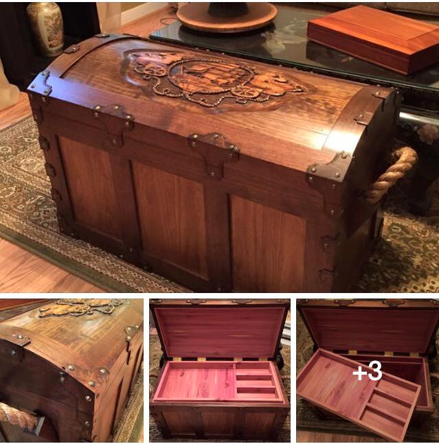 From Glenn Dean‎: My newest chest creation... Hand carved and burnt, this chest was built using clear Yellow Pine ( not the easiest to carve ), Walnut, and Virginia grown Cedar.