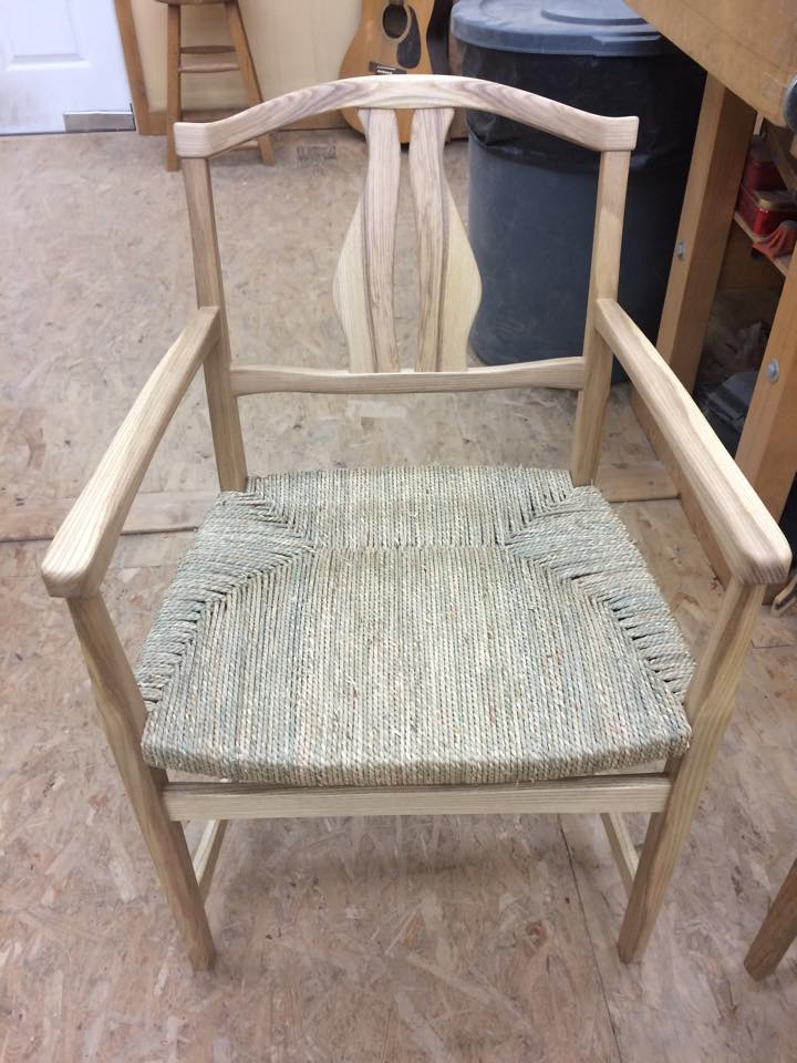 From Harry Jimbra Henderson: Vidars Chair, crafted by Chad Harris out of ash with a seagrass weave seat, mortise and tenon construction and joinery.
