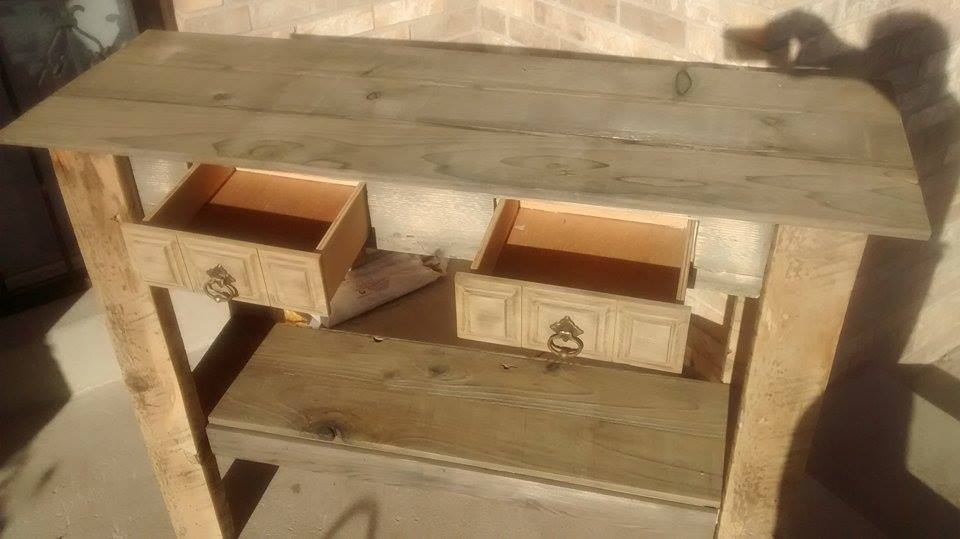 From Jerel Dalrymple: My first ever attempt at reclaimed lumber entry table
