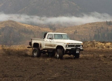 From Jim Wright: My 77 Ford F-150, 7 inch lift, built 400 with C-6 tranny