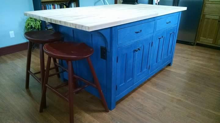 From Judd Kaiser: Kitchen island and tractor-seat stools.