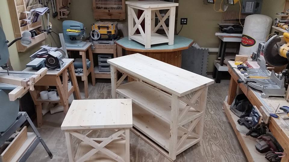 From Michael Koepp‎: Some end tables and a behind the sofa table for a customer. Made from standard construction grade lumber.