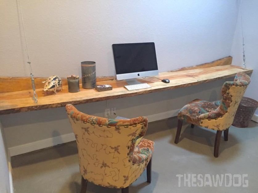 From Phil Deschene Jr.: This is a 11' live edge floating desk I built