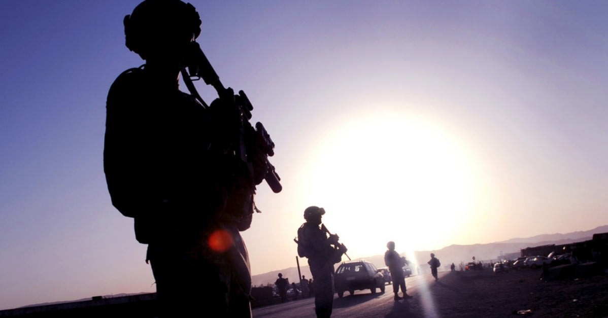 U.S. Soldiers work security on a street in Sharana, Afghanistan in 2009  / Via U.S. Air Force and Staff Sgt. Dallas Edwards