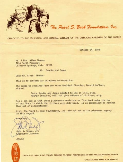 Allen Thomas received this letter while trying to locate his children in 1980 / Via Allen Thomas