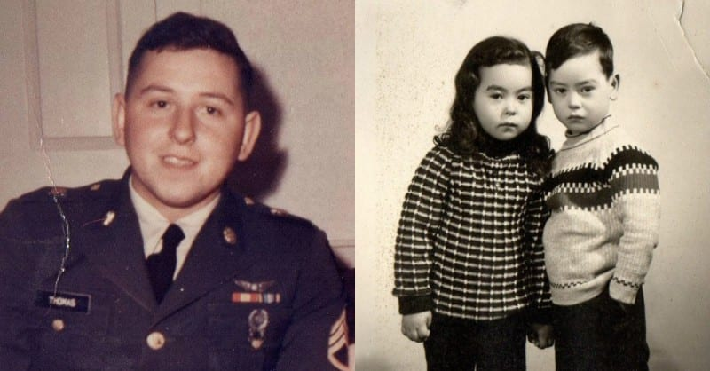 Army Veteran Allen Thomas and his twins, James and Sandra / Via Allen Thomas