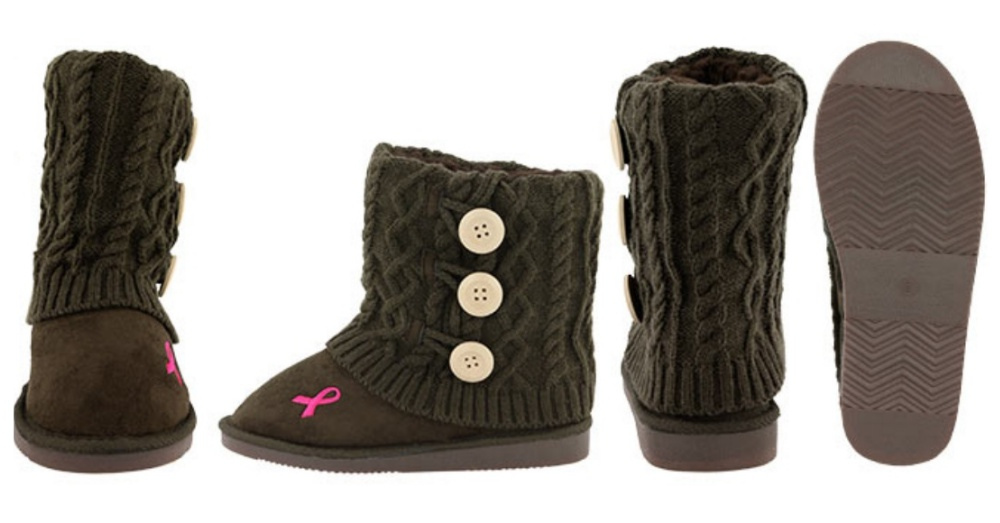 Pink Ribbon Mid Rise Knit Boots at The Breast Cancer Site Store