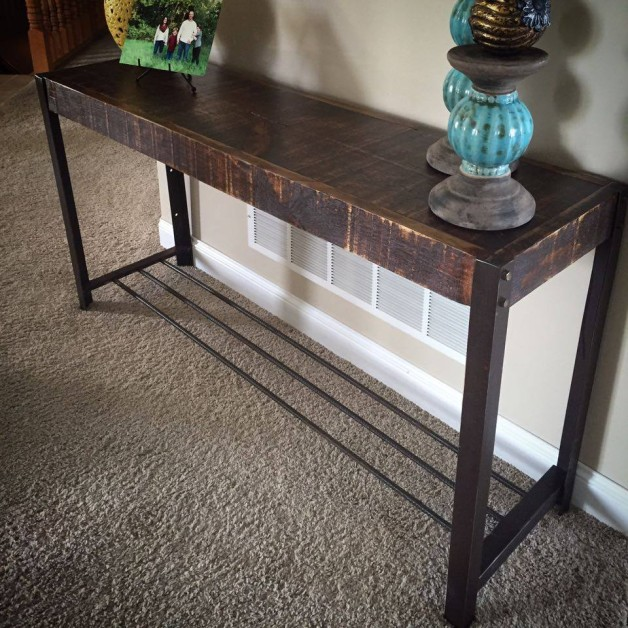 From Aaric Geihl:  made this console table for some friends out of reclaimed iron, rebar and wood. I may need to make a few more.