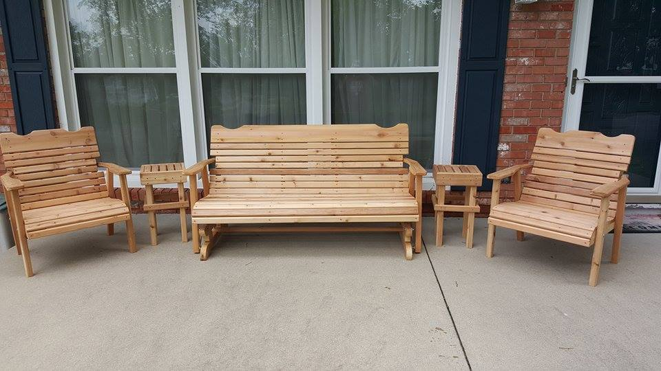 From Adam Kirchner: the porch furniture is made from cedar deck boards