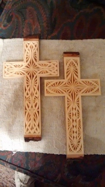 From Brenda Meairs: Two chip carved crosses from basswood with bark still on the top and bottom. I carved these  month ago.