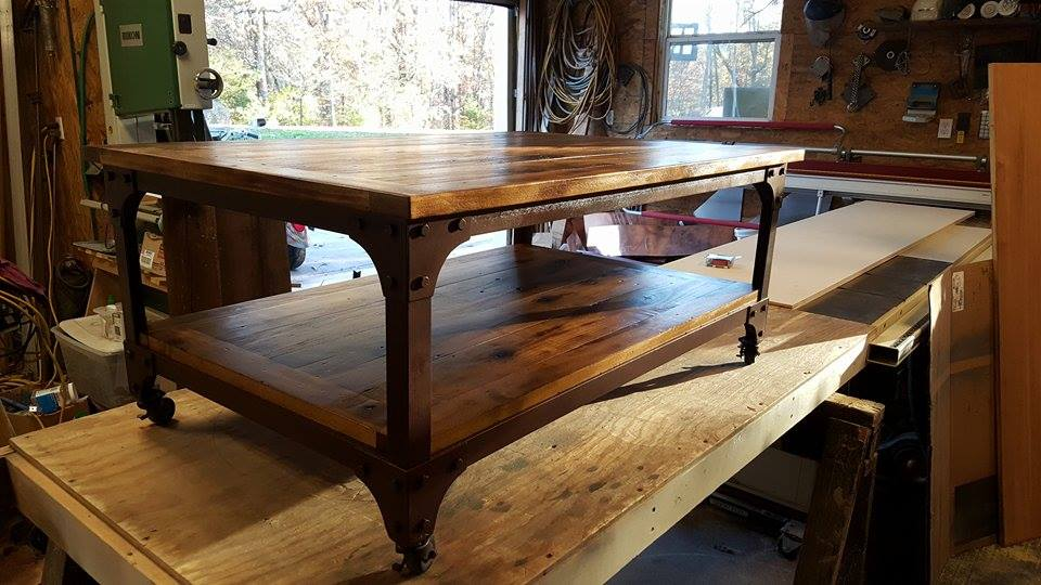 From Jeremy Littrell: Coffee table which I welded and built with reclaimed Poplar boards from Knoxville,  TN!