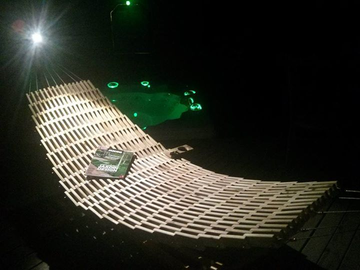 From Jessy Denis: Hi, This is what i do, a wooden hammock handmade in white cedar, here in Québec. You can visit my page BWAmak for more informations.