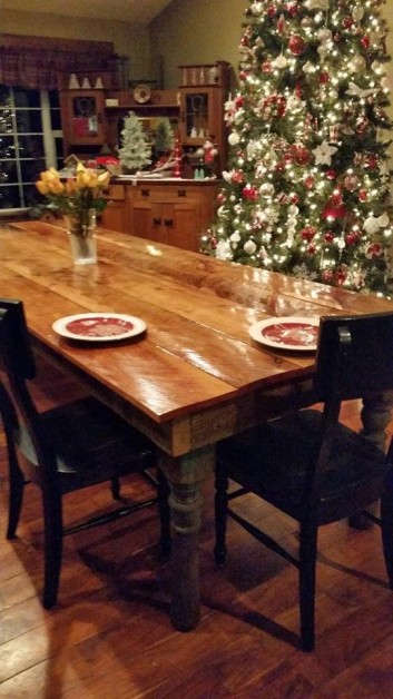 From Julie Ann Wiseman: 10 foot farm table delivered just in time for Thanksgiving.  Made from old scragg sawn maple with vintage porch post legs.  Built by Ken of Crego Vintiques in Adna, WA