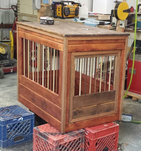 From Michael Smith: Here is my dog crate end table I built this weekend.
