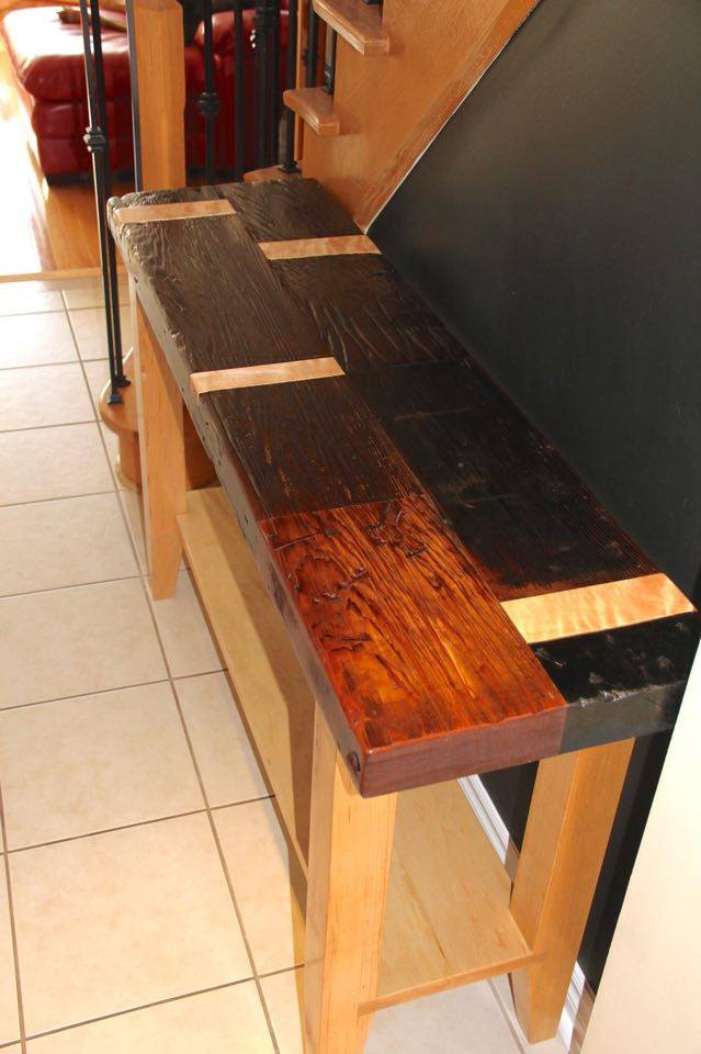 From Pat Baliva: Reclaimed wine vat redwood top, solid maple legs, shelf and inlays where steel bands wrapped the vat.