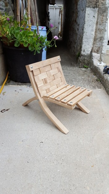 From Robin Stapleton: i made an oak seat for my daughters 1st birthday. I made it from an off cut of oak kitchen worktop i had left over from a job.i made the legs by cutting  3mm strips then glueing together and clamping on a jig i made.Realy happy how it turned out, she loves it smile emoticon