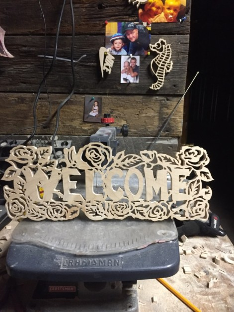 From Shane Schneidau: 8.5 hrs scroll saw welcome sign rose design