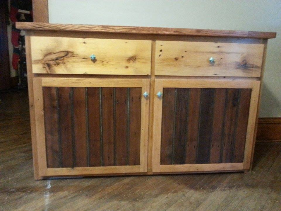 From StacieandTrin Crawmer: Christmas present I made for my wife. Dining room hutch made from all reclaimed barn wood.