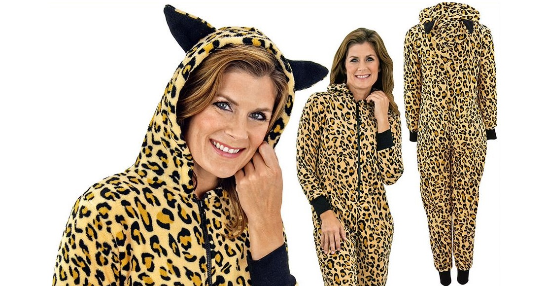 The only leopard print plush hooded onesie you'll ever need.