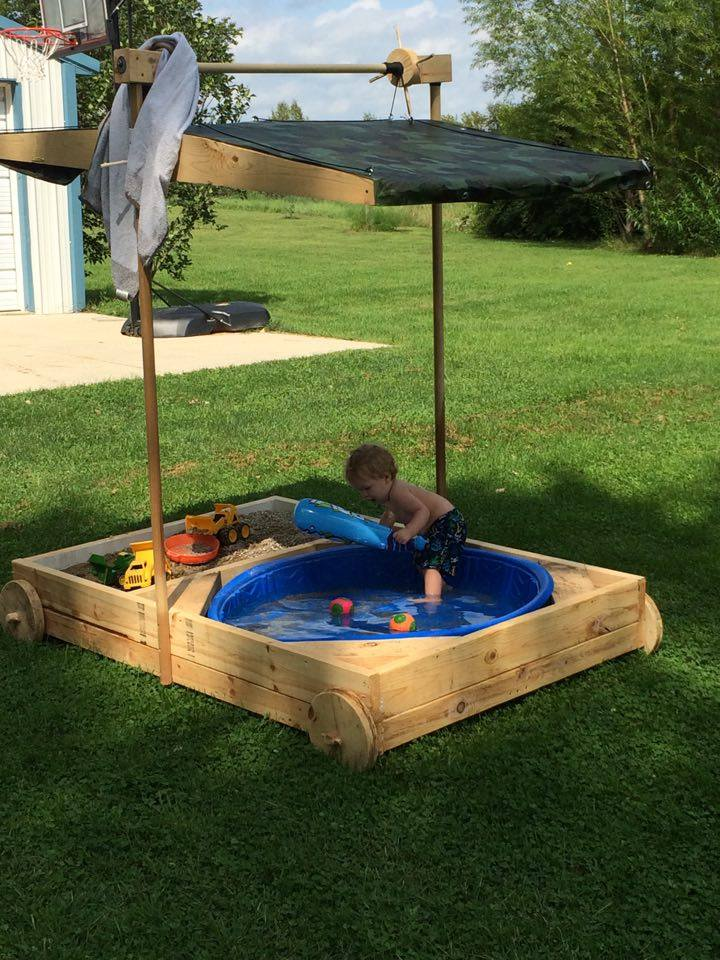 From Bill Beck: I call it my grandsons party wagon. It's a sandbox/kiddie pool with a retractable canopy to keep him out of the sun and it's on wheels so I can roll it around the yard and not kill the grass