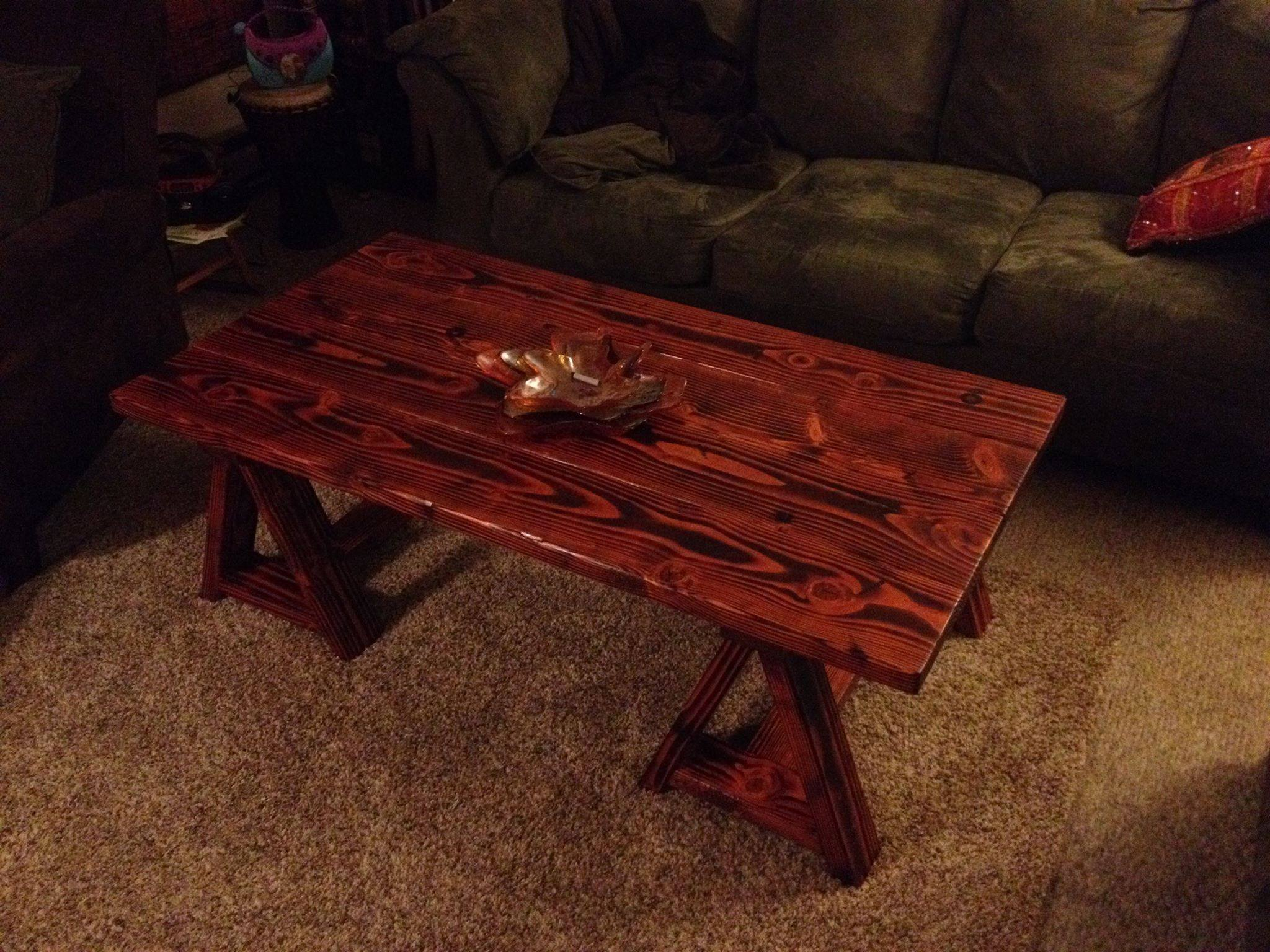 From Doane Hopkins: Saw Horse Coffee Table from rogueengineer.com Made from construction grade lumber assembled with a Kreg pocket hole jig. I torched the table, put some Minwax pre-stain conditioner, three coats of their Gunstock stain, three coats of satin polyurethane on it and it didn't turn out to bad.
