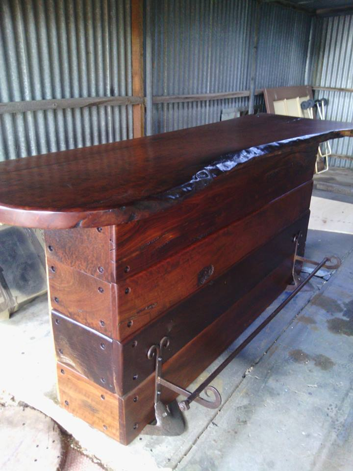 From Mark Russell: I just finished this bar made from Murray river redgum at Murray Bridge. South Australia. Cheers. MARK