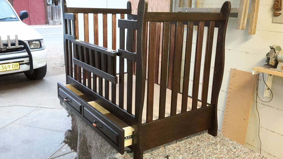From Neville Ronald Smith: Cot I made for my niece from meranti with Indonesian Teak stain