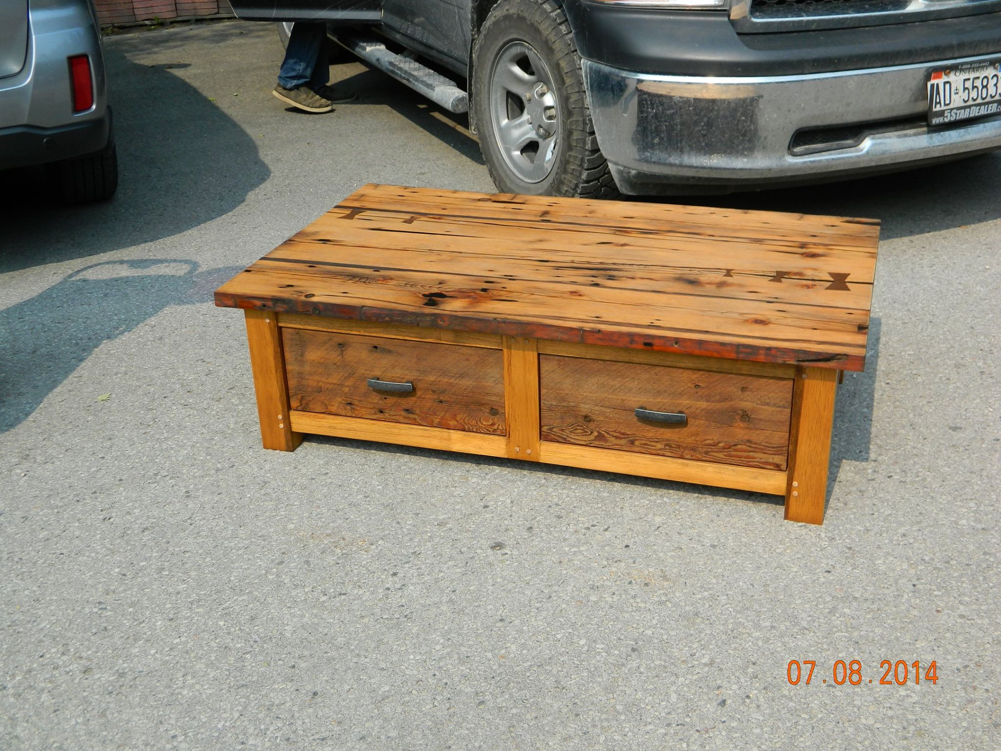From Rob Monk: Coffee Table crafted from salvaged barn wood using traditional joinery and finished in danish oil. This piece was originally a gift for my mother in-law but sold at trade show.