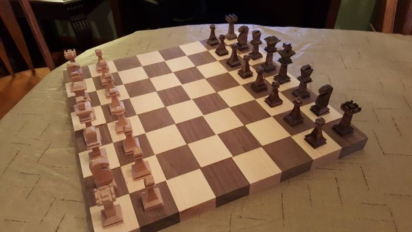 From Rob Webb: First attempt at chess pieces and chessboard. Not perfect by any stretch, but it was a fun project. Still need some more sandind and need to make a border for the board.